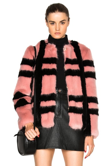Shrimps Gustav Faux Fur Coat in Rose & Black