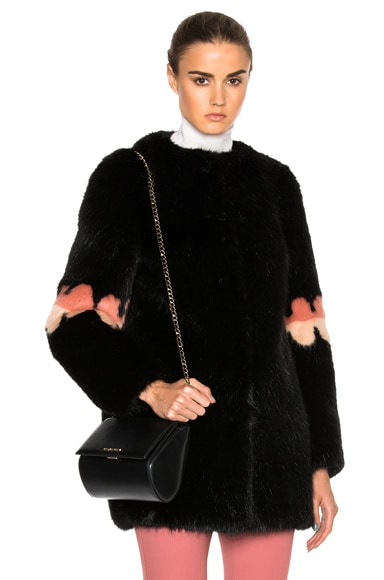 Shrimps Faux Fur Frilly Joseph Coat in Black, Blush & Spanish Pink