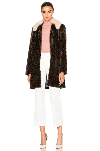 Shrimps Removable Collar Piper Coat in Leopard, Blush & Sky Blue