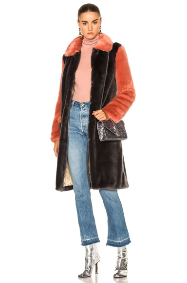 Shrimps Faux Fur Simon Coat in Spanish Charcoal & Pink