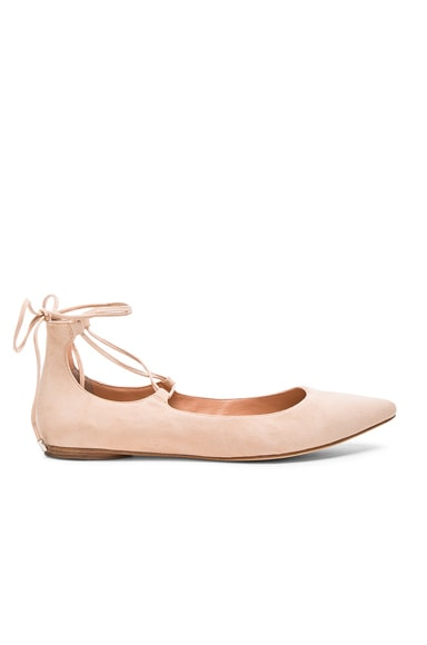 Sigerson Morrison Suede Sassy Flats in Blush
