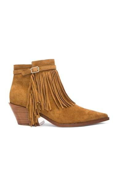 Sigerson Morrison Lena Suede Booties in Caramel