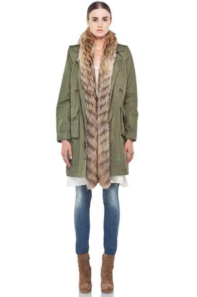 Twill Parka with Fur Trimmed Liner
