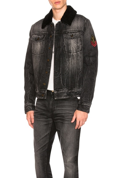 Shearling Trim Denim Jacket