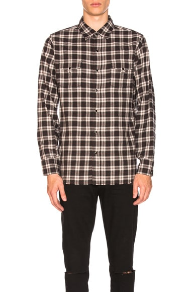 Plaid Western Shirt with Cut Hem