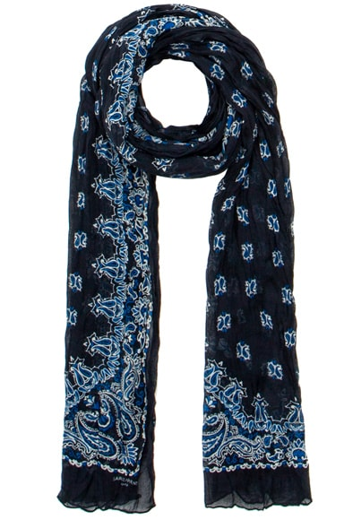 Saint Laurent Pleated Bandana Scarf in Bleu Nuit & Off White