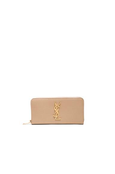 Saint Laurent Monogram Zip Around Wallet in Dark Beige