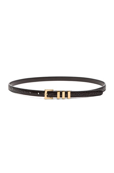 Saint Laurent Croc Embossed Trois Passants Belt in Black
