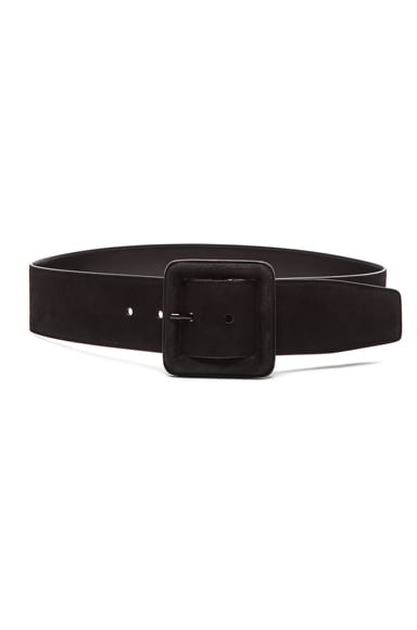 Saint Laurent Suede Buckle Belt in Black