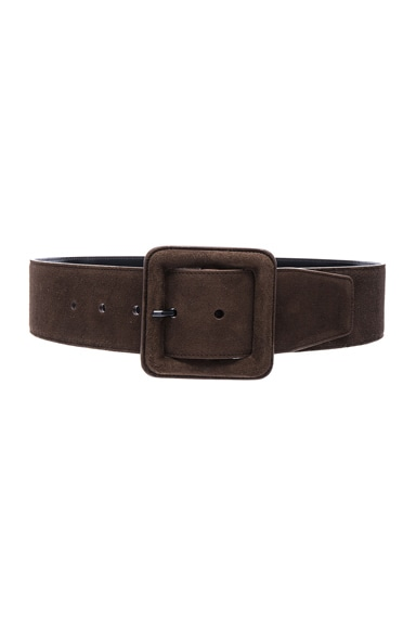 Saint Laurent Suede Buckle Belt in Cafe
