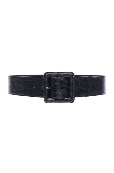 Saint Laurent Lizard Embossed Buckle Belt in Black