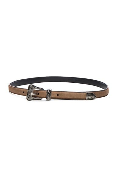 Saint Laurent Western Buckle Belt in Dusty Beige