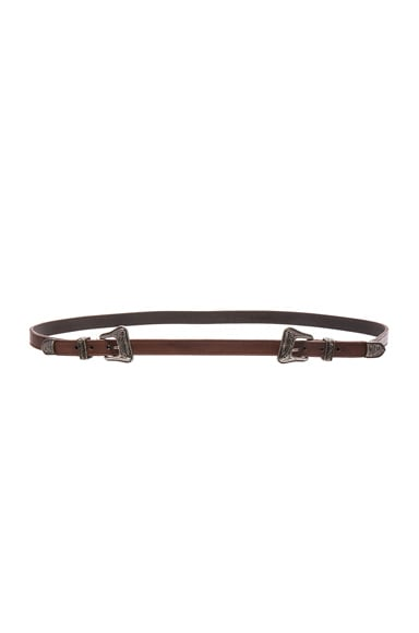 Saint Laurent Double Buckle Western Belt in Vintage Brown