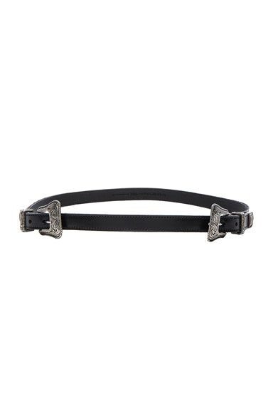 Saint Laurent Double Buckle Western Belt in Black