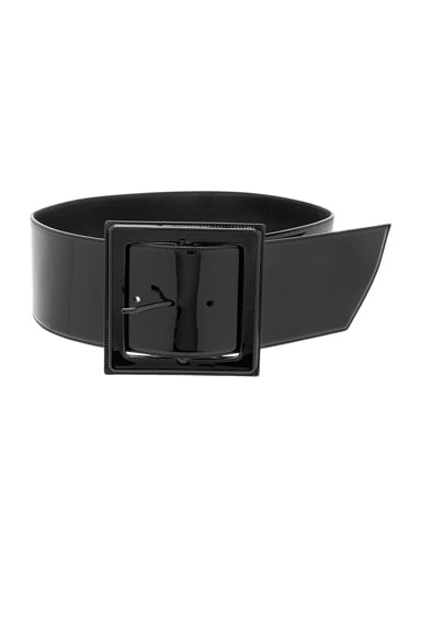 Saint Laurent Glove Patent Corset Belt in Black