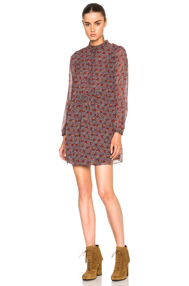 Saint Laurent Georgette Prairie Dress in Multi