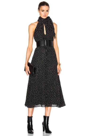 Saint Laurent Crepe Viscose Glitter Dots Dress in Black & Cream