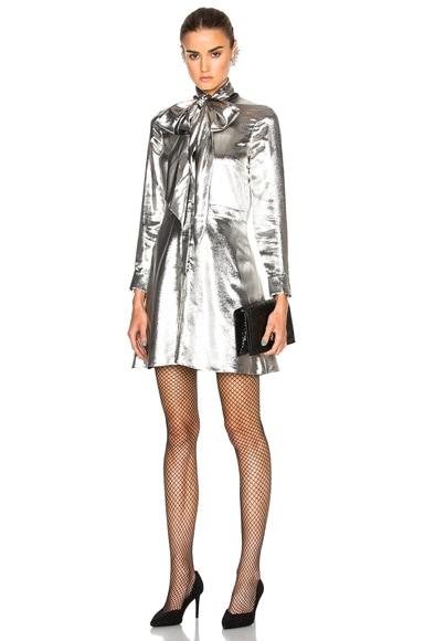 Saint Laurent Lightweight Twill Lame Dress in Silver