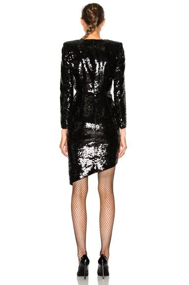 Asymmetric Drape Paillette Dress
