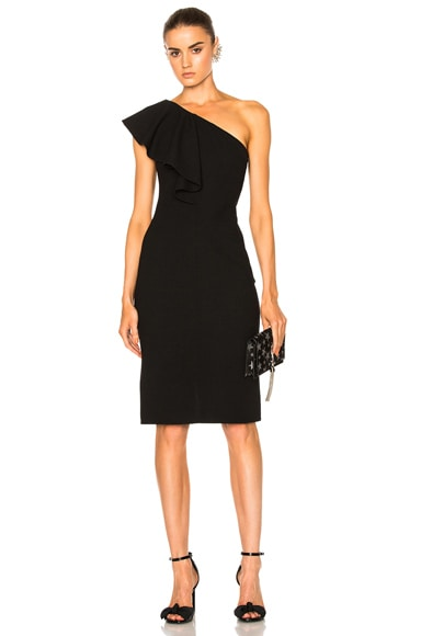 Saint Laurent One Shoulder Ruffle Dress in Black
