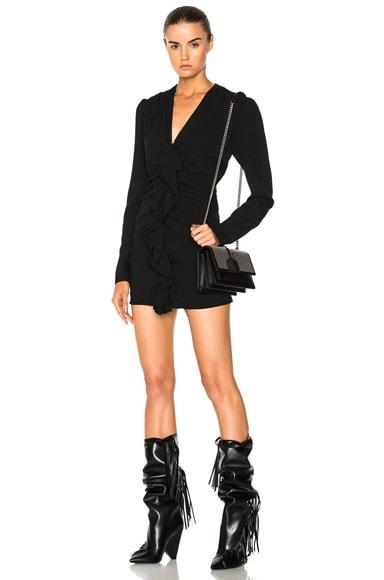 Ruffle Front Mini Dress Saint Laurent