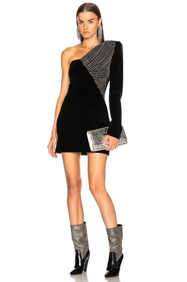 Embellished Velvet Cupro Compact One Shoulder Dress