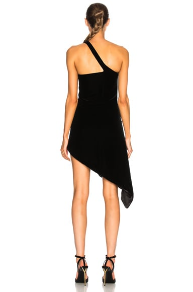 Velvet Cupro Compact Asymmetric One Sleeve Dress