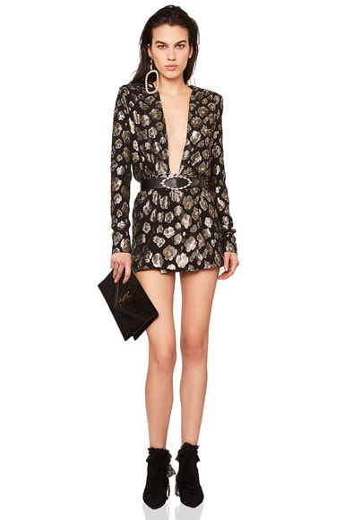 Printed Plunging Long Sleeve Mini Dress