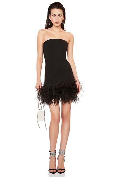 Feather Hem Strapless Crepe Dress