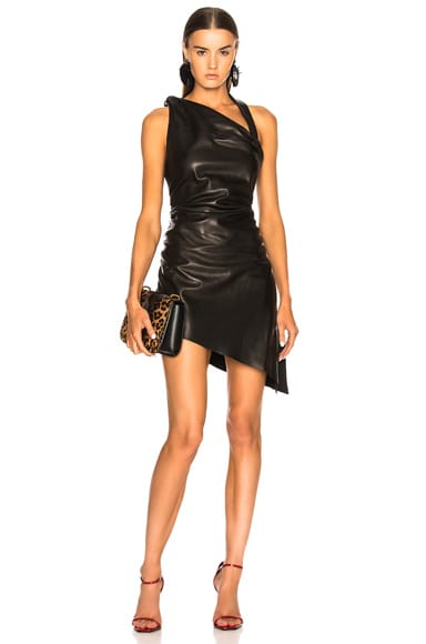 Draped Leather Mini Dress