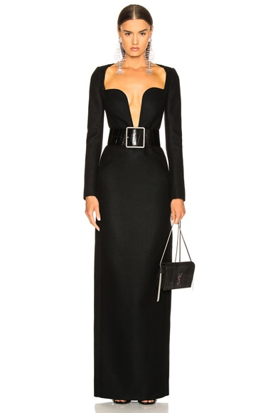 Wool Plunging Long Sleeve Gown