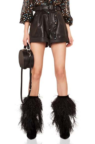 Grained Leather Shorts