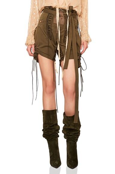 Slouchy Gabardine Lace Up Shorts