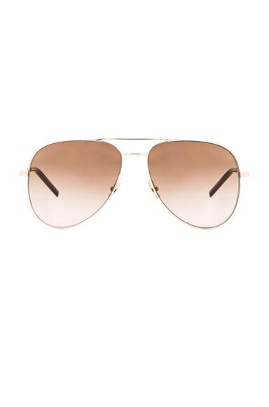 Saint Laurent Classic 11 Sunglasses in Endura Gold & Brown
