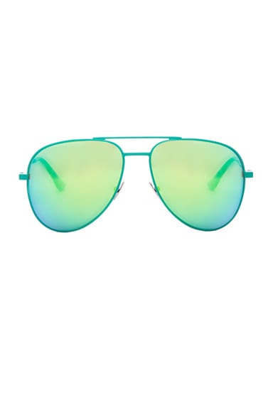 Saint Laurent Classic 11 Aviators in Green Mirror