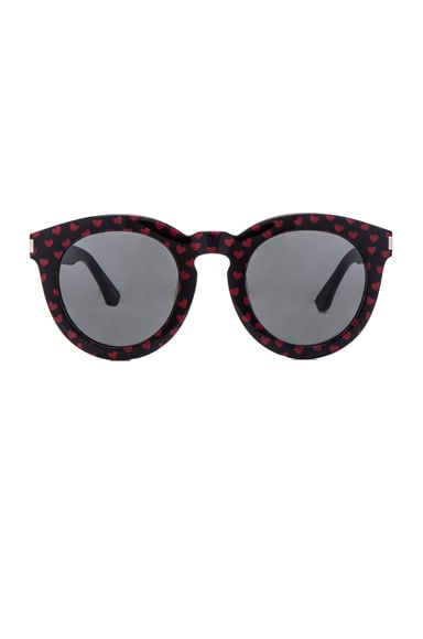 Saint Laurent SL 102 Sunglasses in Black & Red Hearts
