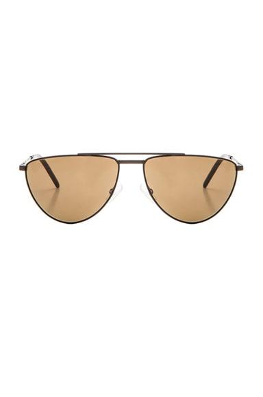 Saint Laurent 18 Sunglasses in Matte Black & Brown
