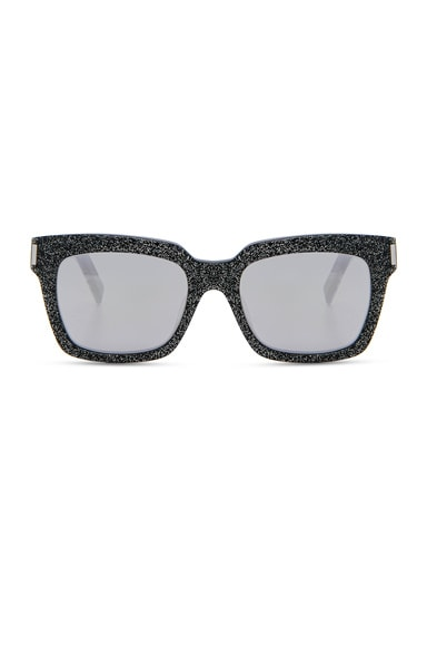 Saint Laurent Bold 1 Sunglasses in Glitter Multicolor, Silver & White