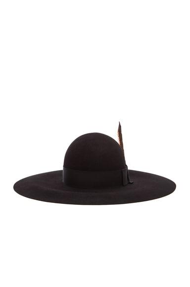 Saint Laurent Felt Hat with Feather in Black