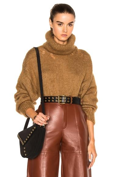 Saint Laurent Oversize Mohair Turtleneck Sweater in Camel