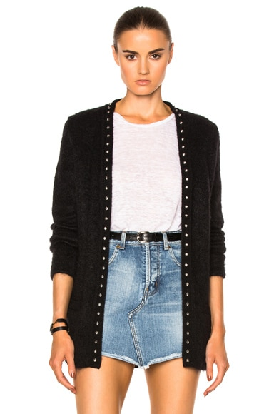 Saint Laurent Oversize Cardigan with Star Liner in Black