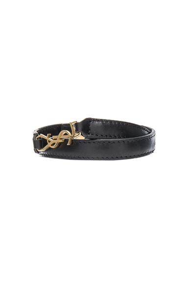 Saint Laurent Classique Double Wrap Bracelet in Black