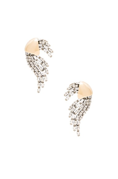 Saint Laurent Rubans Clip Earrings in Gold & Crystal