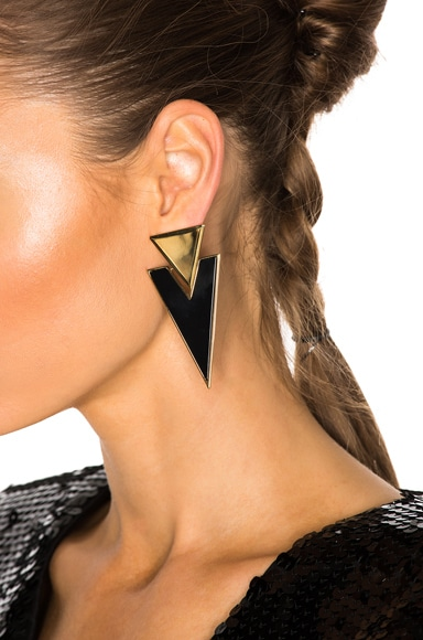Deco Triangle Clip Earrings