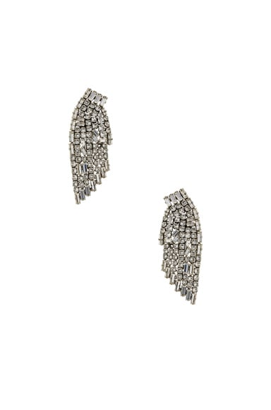 Saint Laurent Cascade Earrings in Crystal & Palladium