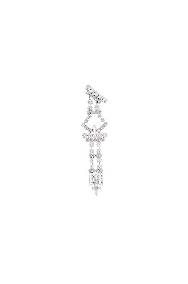 Saint Laurent Single Drop Earring in Crystal & Palladium