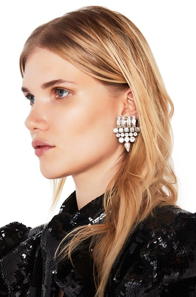 Saint Laurent Small Drop Earrings in Crystal & Palladium