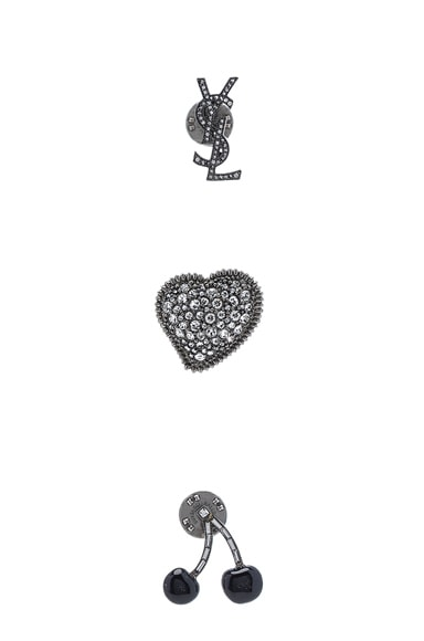 Saint Laurent Pin Set in Crystal & Silver