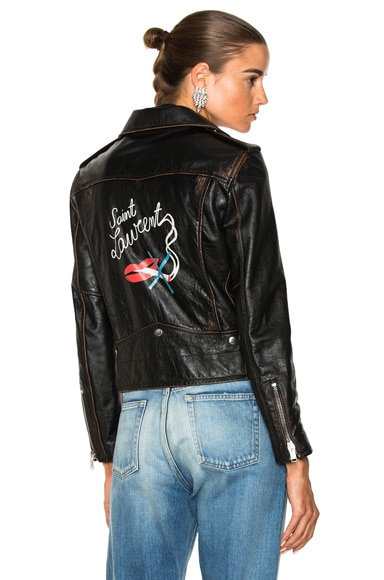 Smoking Large Lips Motorcycle Jacket
