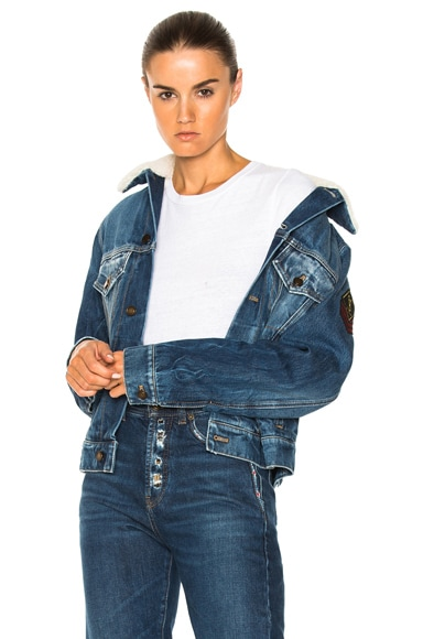 Shearling Trim Patch Denim Jacket
